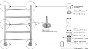 Крепление электрического полотенцесушителя