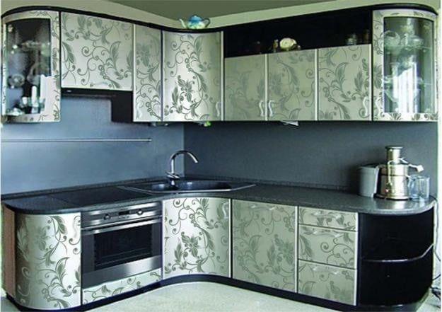 Эксклюзивный варинат оклейки кухонного гарнитура плёнкой.