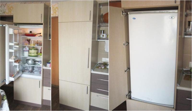 Встроенный обычный холодильник.