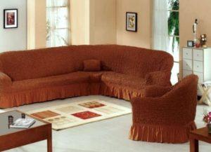 как одеть еврочехол на угловой диван