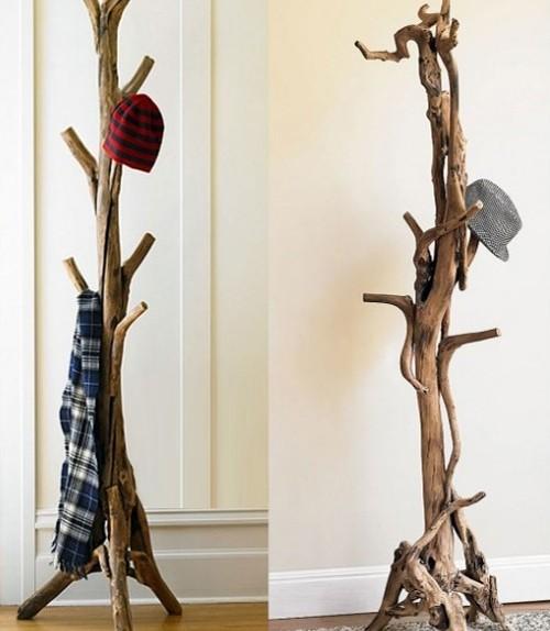 Варианты напольной вешалки из дерева.