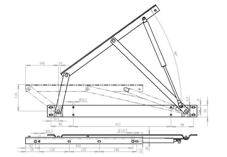 Кровать с подъемным механизмом схема