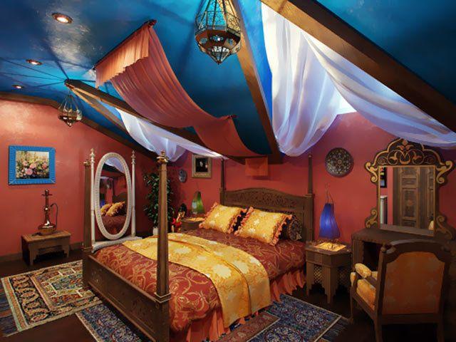 Декоративные элементы и аксессуары марокканской спальни.