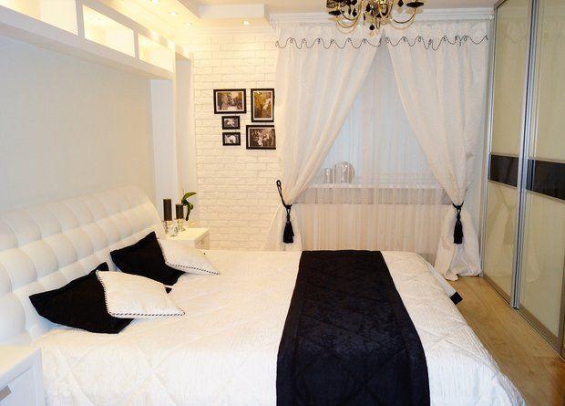 Бело-чёрная спальня.