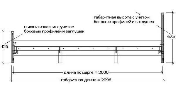 Примерная схема металлической кровати.