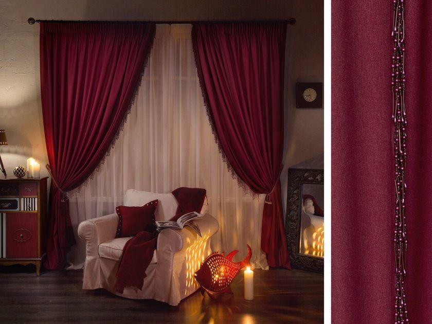 Декор бордовой спальни.