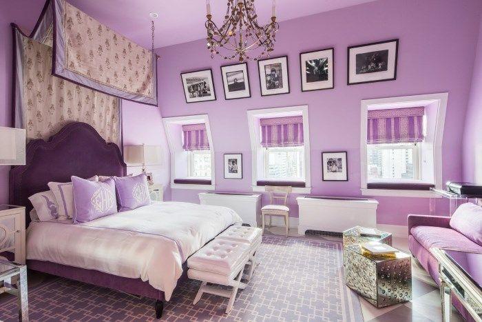 Декор спальни в лиловых тонах.