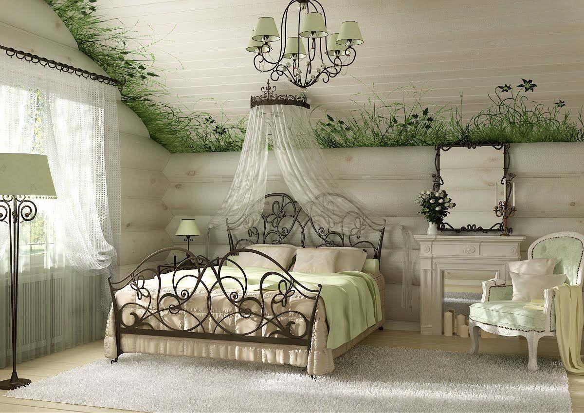 Декор в стиле кантри для спальни.