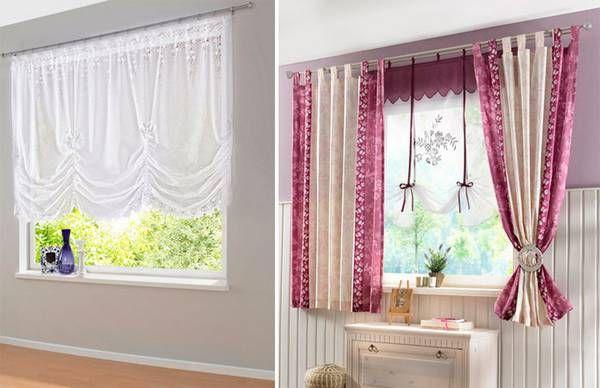 Короткие шторы различной расцветки.