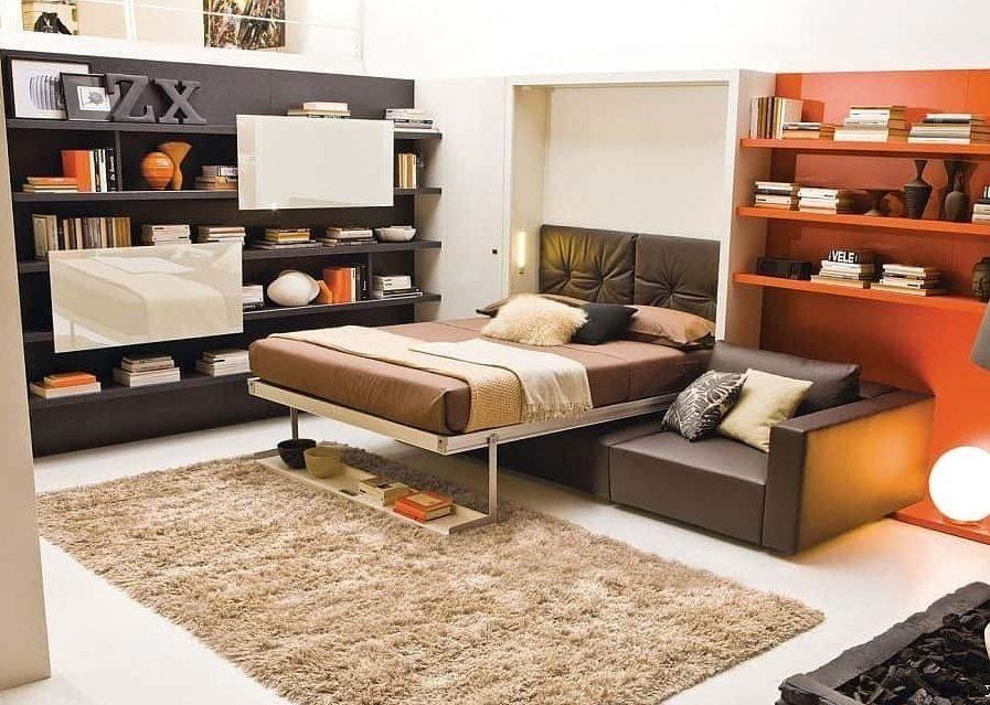 Вариант расположения дивана в спальне.