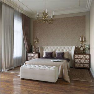Дизайн спальни в классическом стиле.