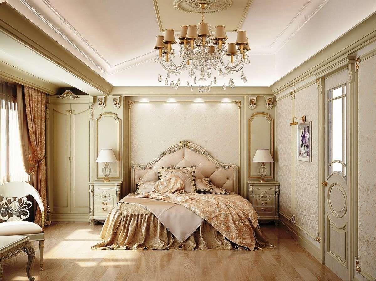 Вариант классической спальни в золотисто-бежевых тонах.
