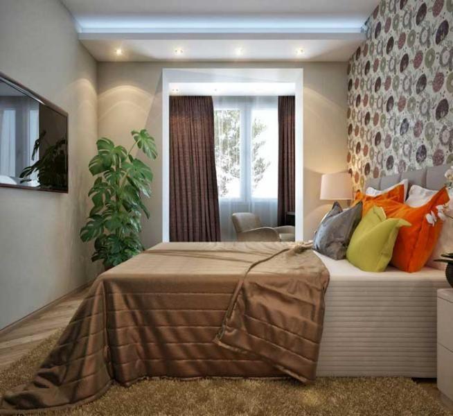 Интерьер спальни с одним окном.