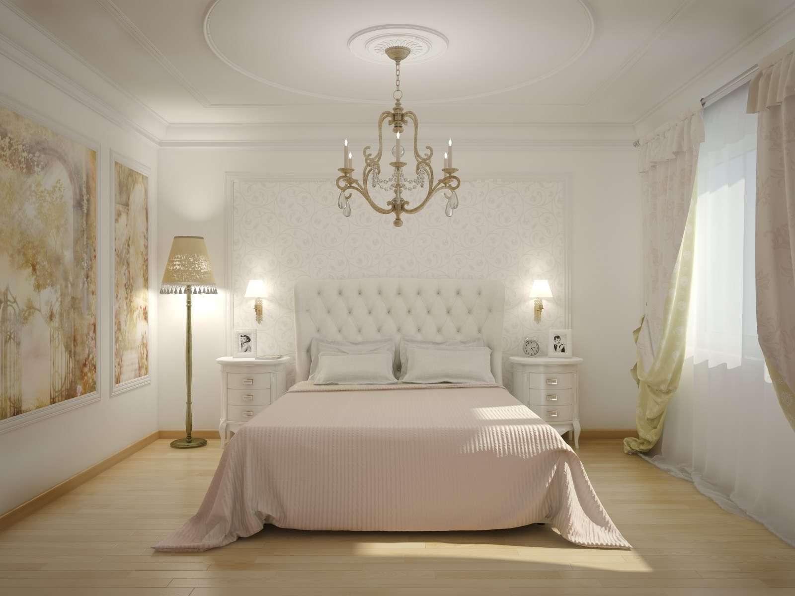 Как сделать интерьер спальни в пастельных тонах с белой мебелью