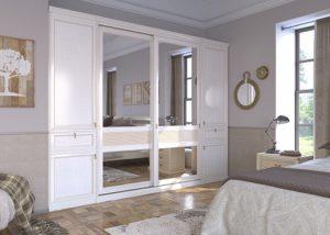 Как уместить гардеробную в спальне небольшого размера