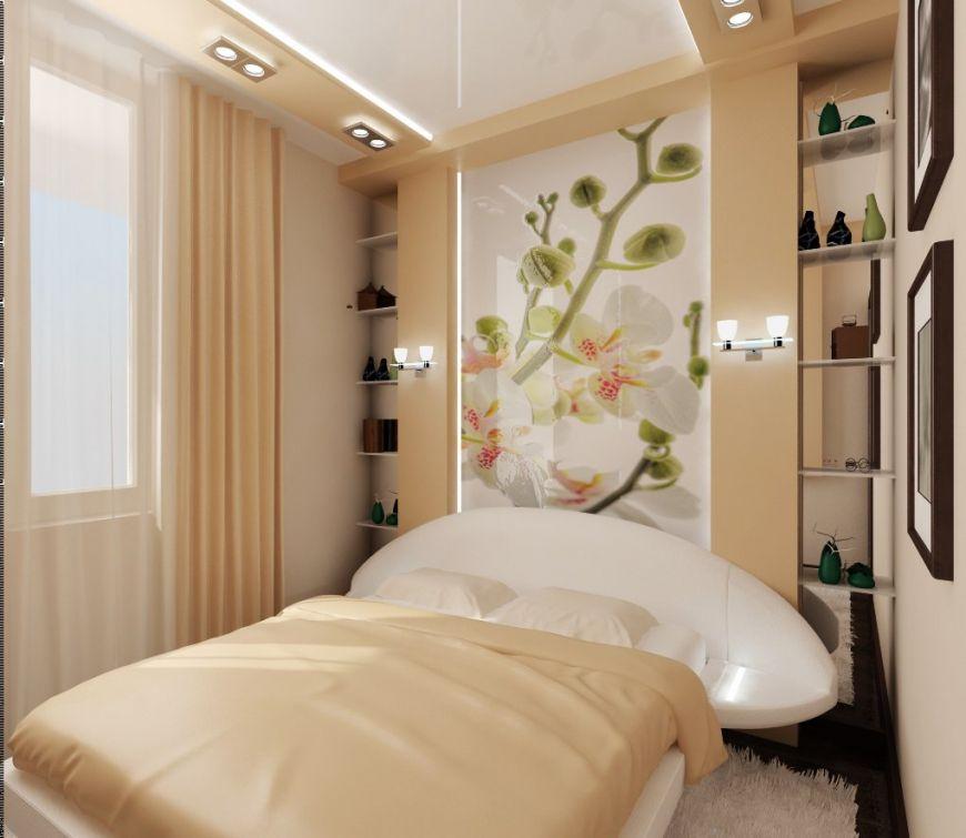 Как красиво оформить узкую спальню.