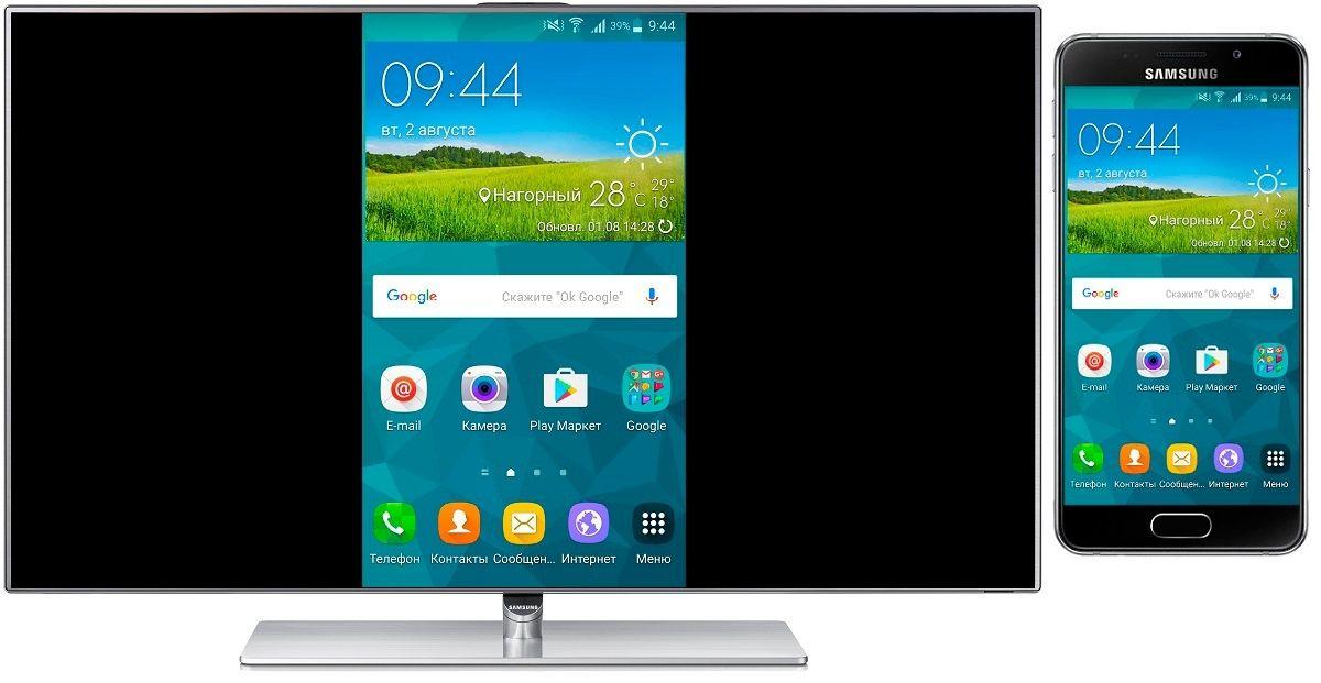 Дублирование экрана смартфона на экране телевизора.