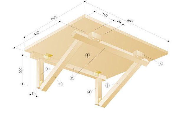 Как сделать откидной столик с упором на петлях.