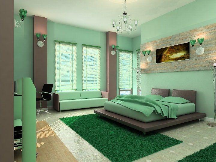 Спальня в зелёных тонах.