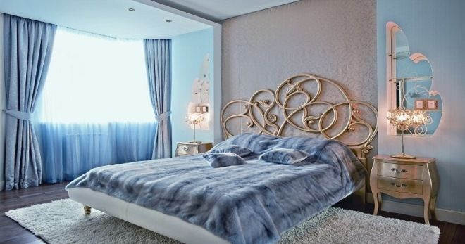 спальня в голубых тонах.