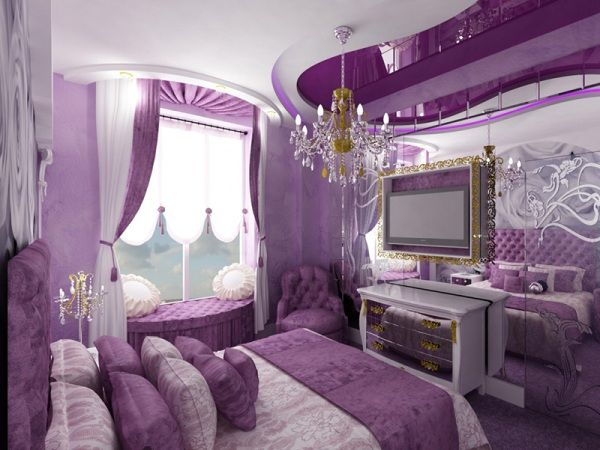 Мебель для спальни в лиловых тонах.