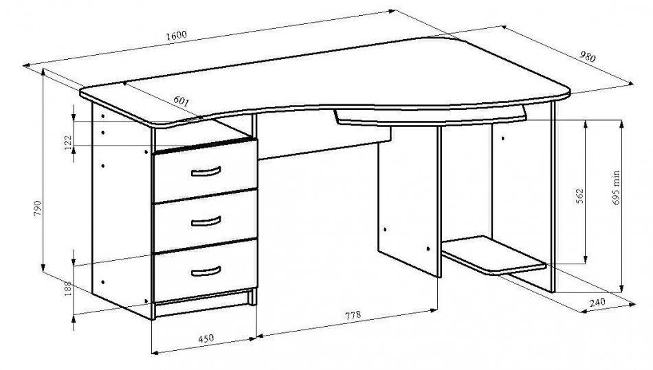 Нестандартные размеры компьютерного стола