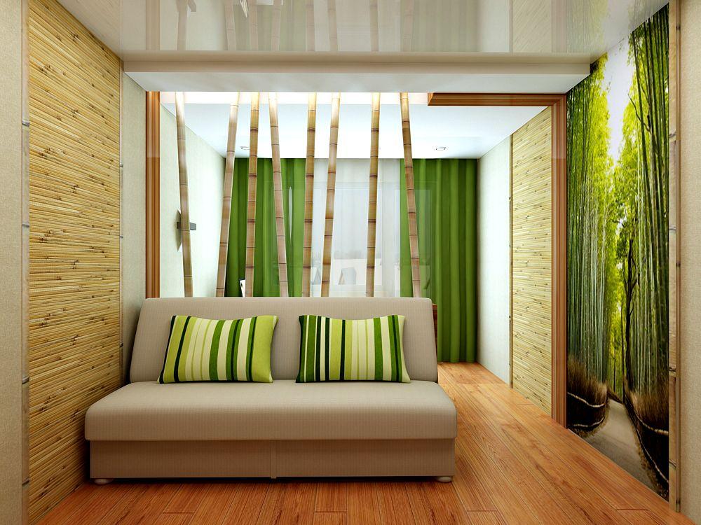 Обои натуральных оттенков для спальни.