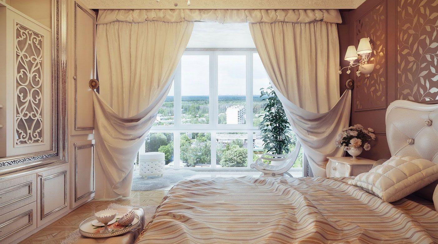 Оформление штор в спальню.