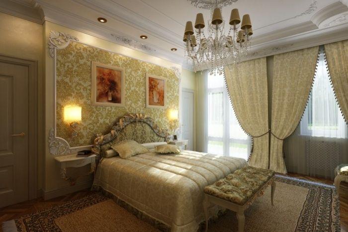 Освещение в классическом интерьере спальни.
