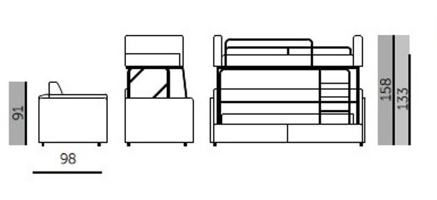 Размеры кровати-трансформер