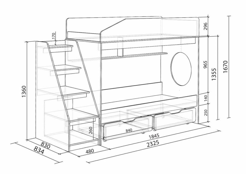 Размеры стандартной двухъярусной кровати