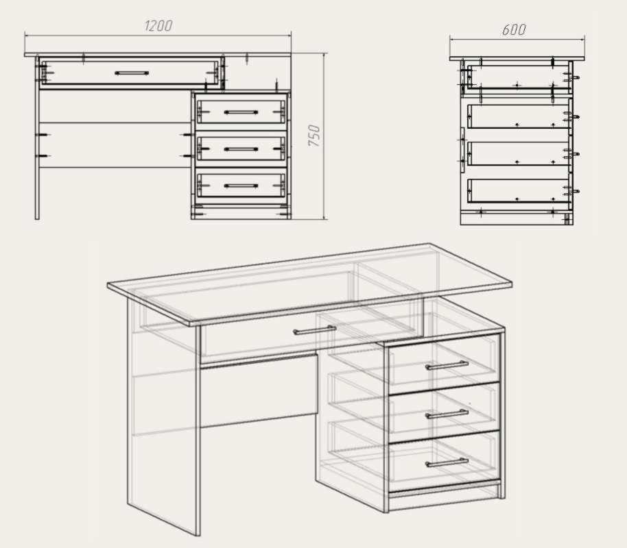Размеры компьютерных столов с ящичками