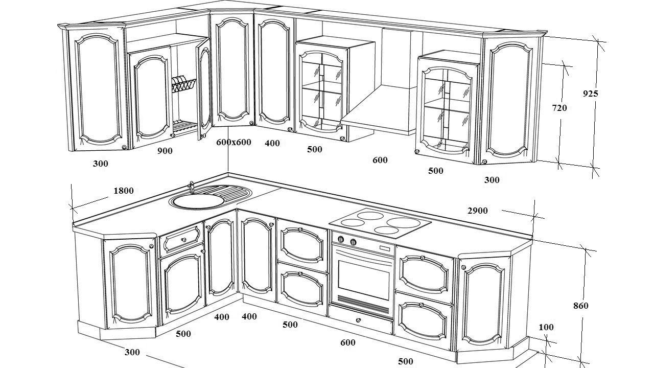 Размеры углового кухонного гарнитура