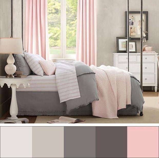 Розово-серая спальня.