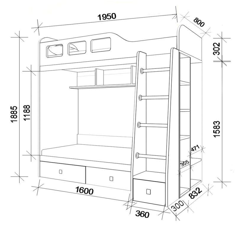 Схема двухярусной кровати с ящиками.