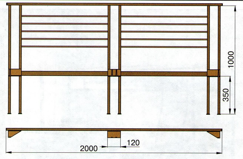 Схема спинки двуспальной кровати из металла.