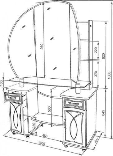 Схема туалетного столика для девочки.