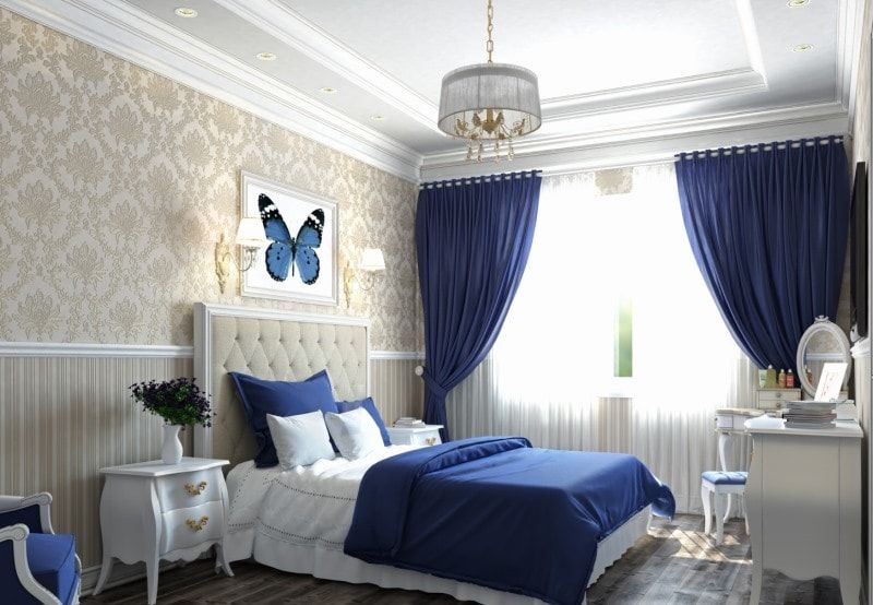 Сине-белый интерьер спальни.