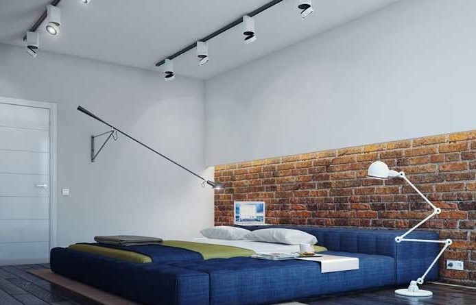 Синяя кровать в стиле лофт.