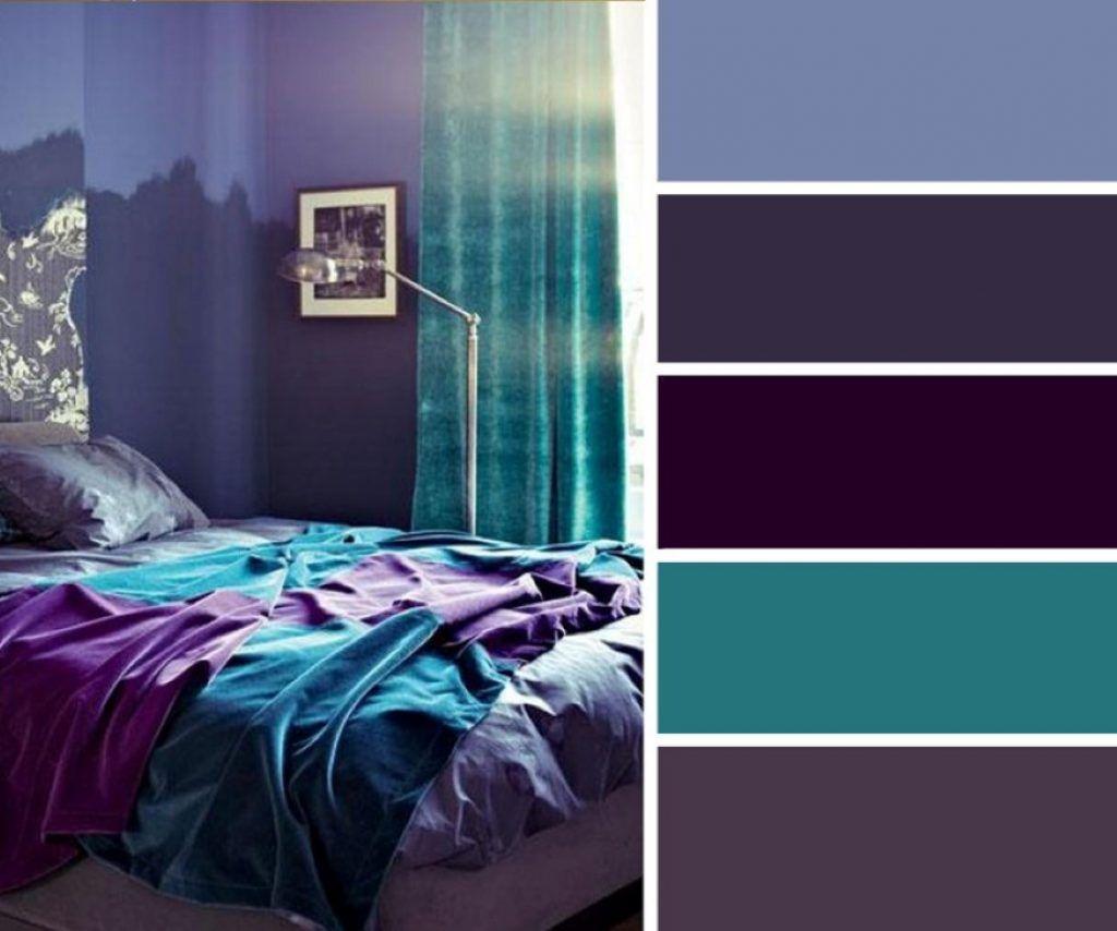 Сочетание фиолетового с другими цветами в спальне.