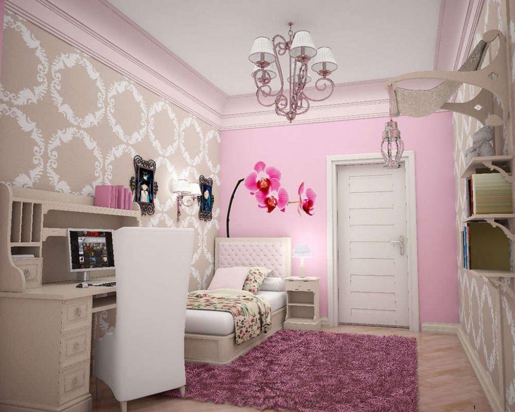Сочетание розового в интерьере спальни.