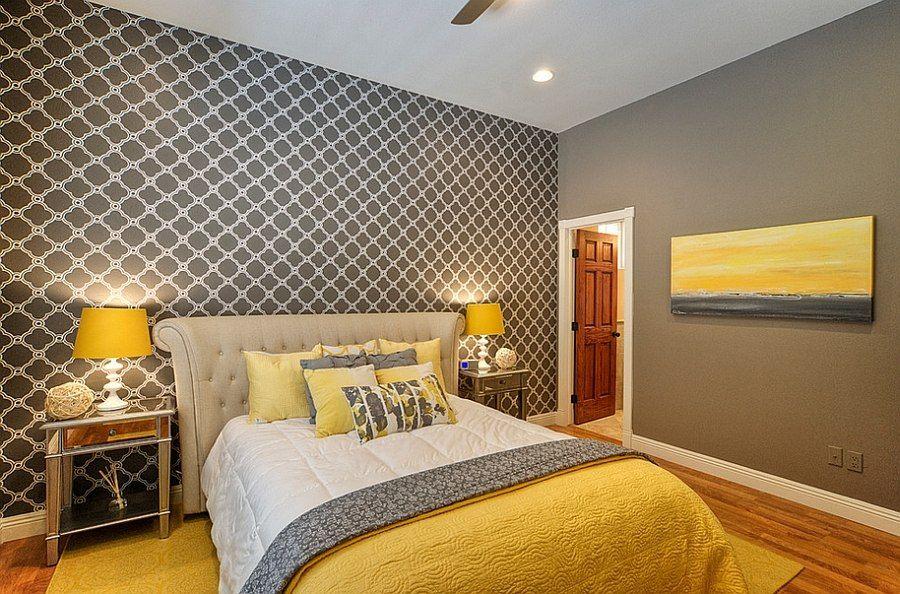 Сочетания жёлтого в интерьере спальни.