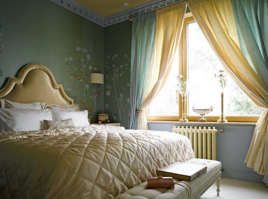 Вариации сочетания жёлтого в интерьере спальни.