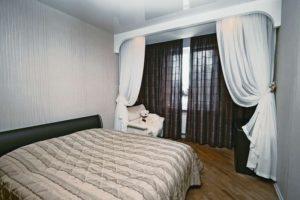 Современный дизайн занавесок в спальню с фото.