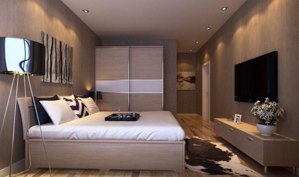 Спальня с высокой кроватью.