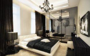Спальня в белых тонах с черным