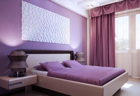 Спальня в лиловых тонах.