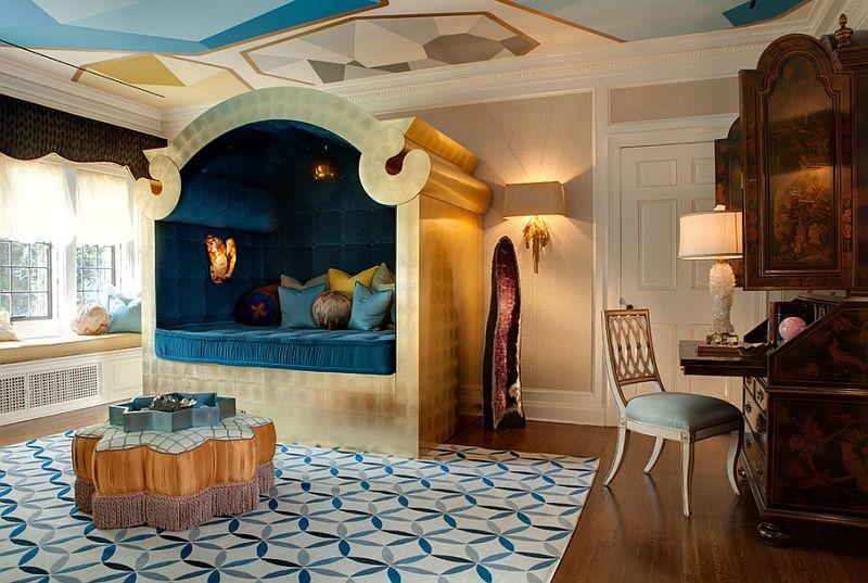 Голубые оттенки в отделке марокканской спальни.