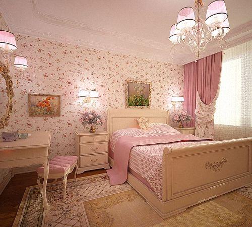 Вариант интерьера в нежно-розовых тонах.