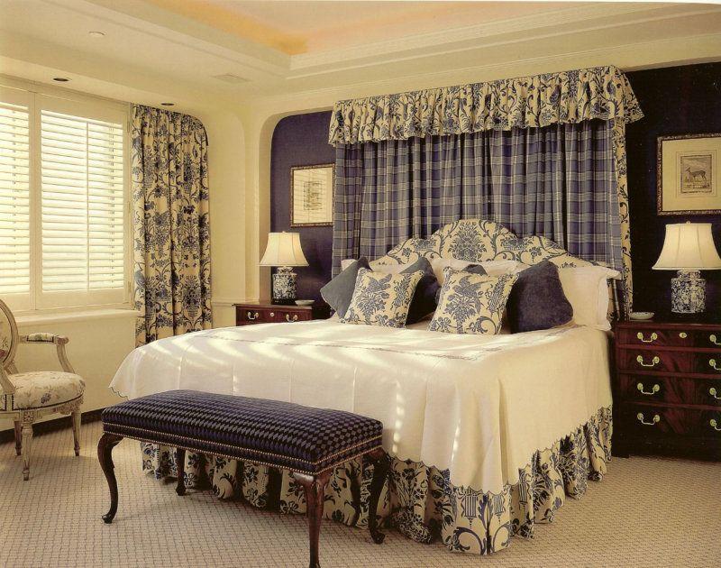 Вариант стиля кантри в интерьере спальни.